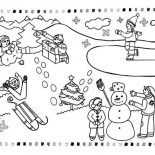 Winter, All Kind Winter Season Outdoor Activities Coloring Page: All Kind Winter Season Outdoor Activities Coloring Page