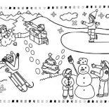 Winter, All Kind Winter Season Outdoor Activities Coloring Page: All Kind Winter Season Outdoor Activities Coloring Page