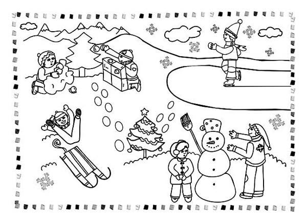 Winter, : All Kind Winter Season Outdoor Activities Coloring Page