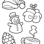 Winter, All Kind Of Winter Season Symbols Coloring Page: All Kind of Winter Season Symbols Coloring Page