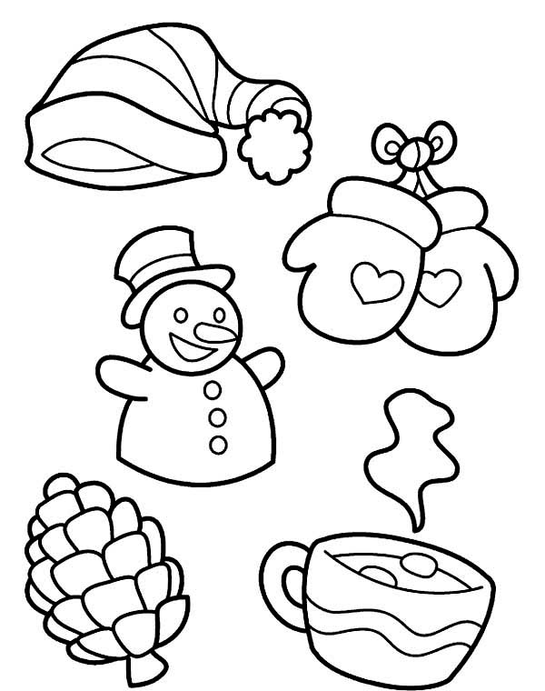 Winter, : All Kind of Winter Season Symbols Coloring Page