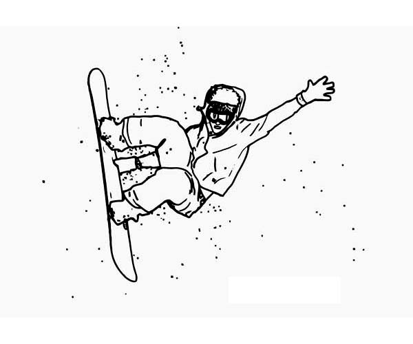 Winter, : An Expert Snowboard Athlete on Winter Season Sport Coloring Page
