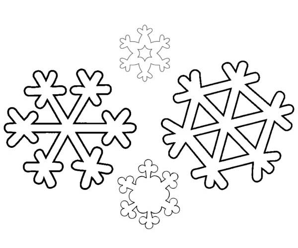 Winter, : An Identical Winter Season Snowflakes Coloring Page