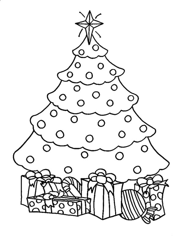 Christmas Trees, : Artificial Christmas Trees with Presents Coloring Pages