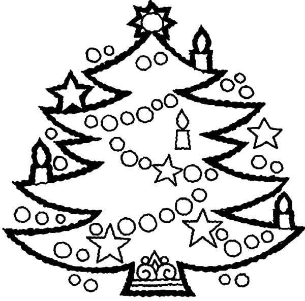 Christmas Trees, : Awesome Christmas Trees Decorated with Candles Coloring Pages