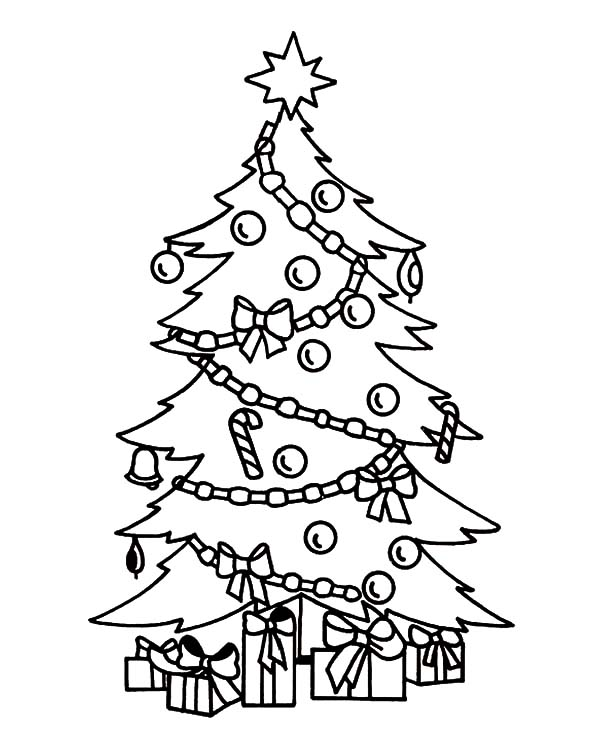 Christmas Trees, : Beautifully Decorated Christmas Trees Coloring Pages