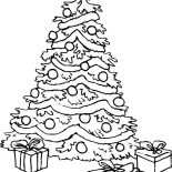 Christmas Trees, Big Christmas Trees And Christmas Presents Coloring Pages: Big Christmas Trees and Christmas Presents Coloring Pages