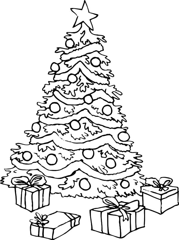 Christmas Trees, : Big Christmas Trees and Christmas Presents Coloring Pages