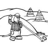 Winter, Cartoon Dog With Long Swiss Horn On Winter Season Event Coloring Page: Cartoon Dog with Long Swiss Horn on Winter Season Event Coloring Page