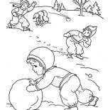 Winter, Childrens Outdoor Activities On Winter Season Coloring Page: Childrens Outdoor Activities on Winter Season Coloring Page
