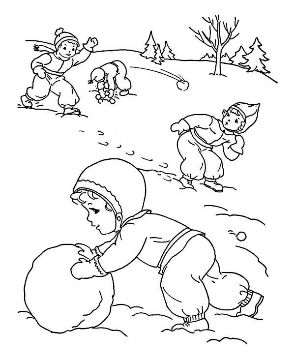 Winter, : Childrens Outdoor Activities on Winter Season Coloring Page
