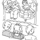 Winter, Childrens Playing Drama On Winter Season School Performing Coloring Page: Childrens Playing Drama on Winter Season School Performing Coloring Page