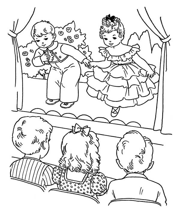 Winter, : Childrens Playing Drama on Winter Season School Performing Coloring Page