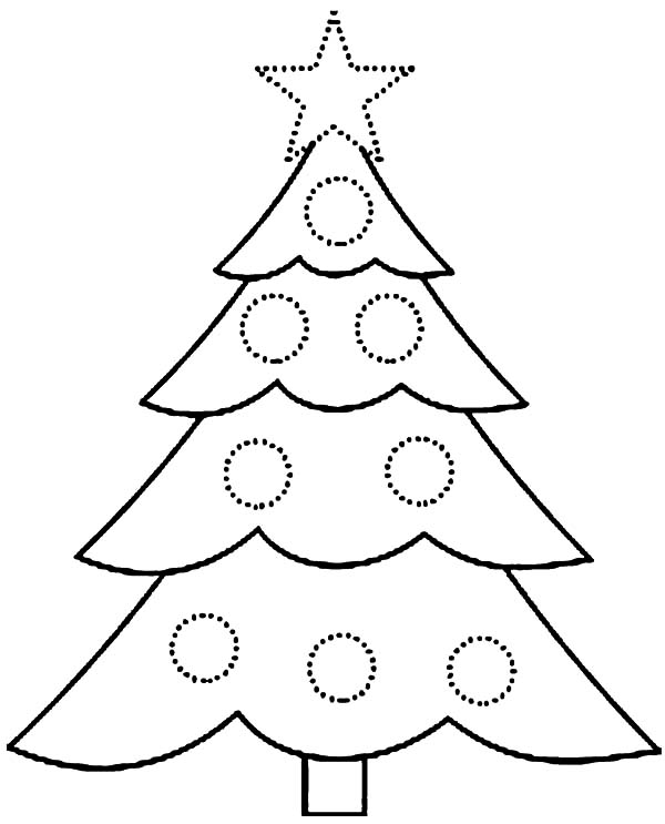 Christmas Trees, : Christmas Trees Covered with Baubles Coloring Pages