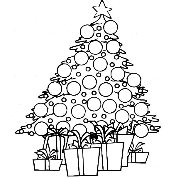 Christmas Trees, : Christmas Trees Covered with Glitter Ornaments Coloring Pages