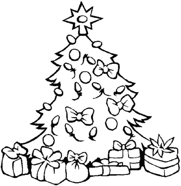 Christmas Trees, : Christmas Trees Decorated with Lamp Coloring Pages