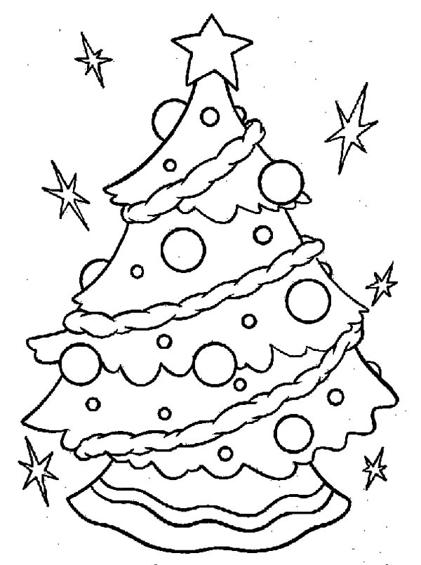 Christmas Trees, : Christmas Trees Light Sparkling Coloring Pages