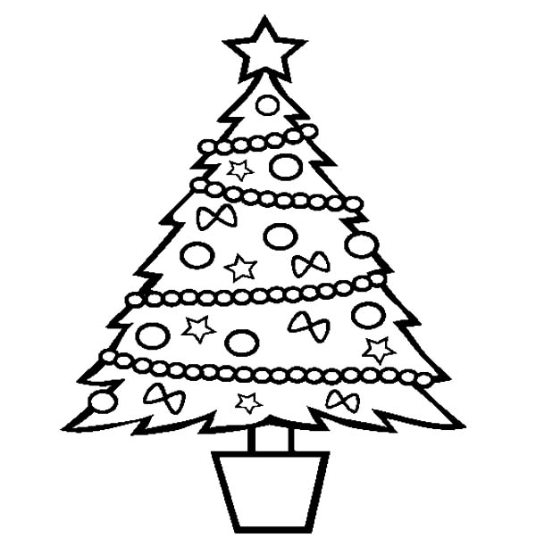 Christmas Trees, : Christmas Trees in Little Bucket Coloring Pages