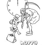 New Year, Cute Baby New Year Doing Handshake With Father Time On 2015 New Year Coloring Page: Cute Baby New Year Doing Handshake with Father Time on 2015 New Year Coloring Page