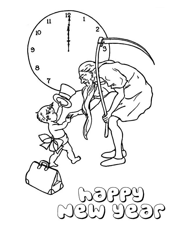 New Year, : Cute Baby New Year Doing Handshake with Father Time on 2015 New Year Coloring Page