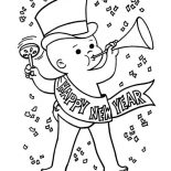 New Year, Cute Baby New Years Eve In Action On 2015 New Year Coloring Page: Cute Baby New Years Eve in Action on 2015 New Year Coloring Page