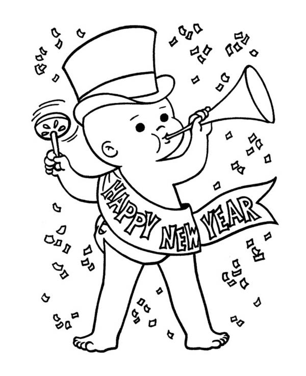 New Year, : Cute Baby New Years Eve in Action on 2015 New Year Coloring Page