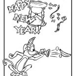 New Year, Cute Monkey On New Years Eve Celebration On 2015 New Year Coloring Page: Cute Monkey on New Years Eve Celebration on 2015 New Year Coloring Page
