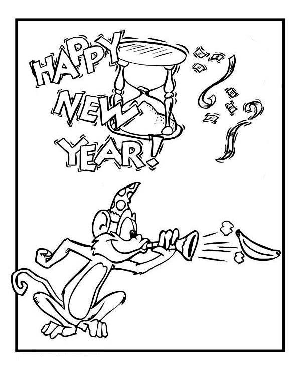 New Year, : Cute Monkey on New Years Eve Celebration on 2015 New Year Coloring Page