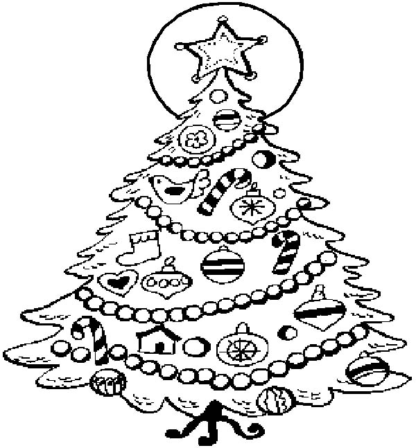 Christmas Trees, : Decorating Christmas Trees with Candy Cane and Dove Coloring Pages