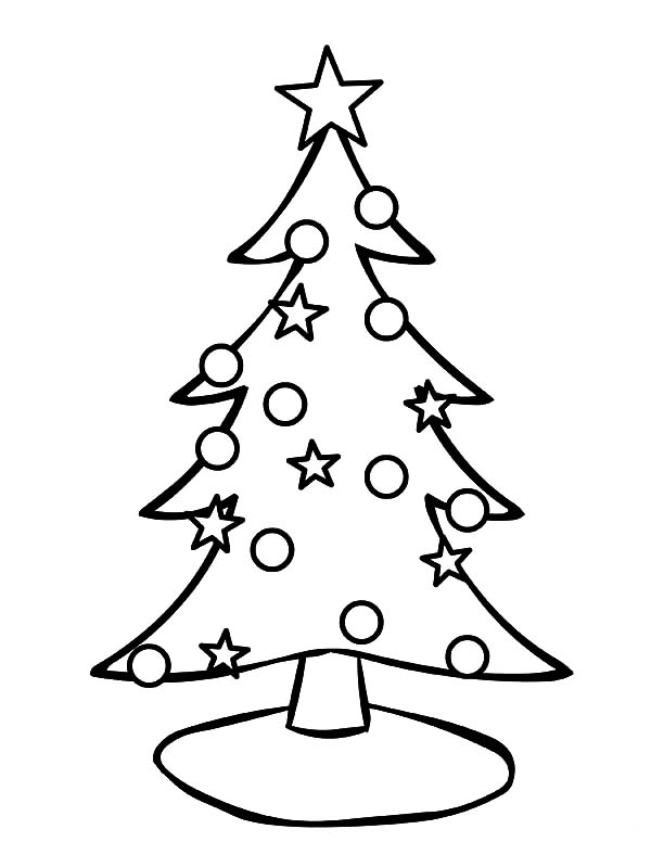 Christmas Trees, : Decorating Christmas Trees with Stars Coloring Pages