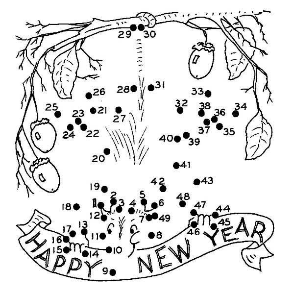 New Year, : Finish the Dot on 2015 New Year Coloring Page
