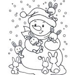 Winter, Friendly Mr Snowman With Bunch Of Rabits During Winter Season Coloring Page: Friendly Mr Snowman with Bunch of Rabits During Winter Season Coloring Page