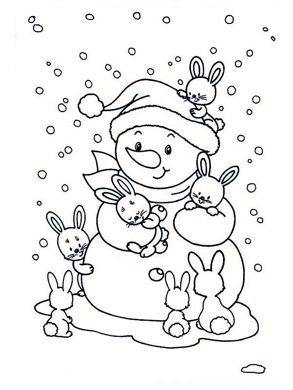 Winter, : Friendly Mr Snowman with Bunch of Rabits During Winter Season Coloring Page