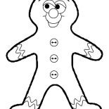 Winter, Gingerbread Man As Favorite Winter Season Cookies Coloring Page: Gingerbread Man as Favorite Winter Season Cookies Coloring Page