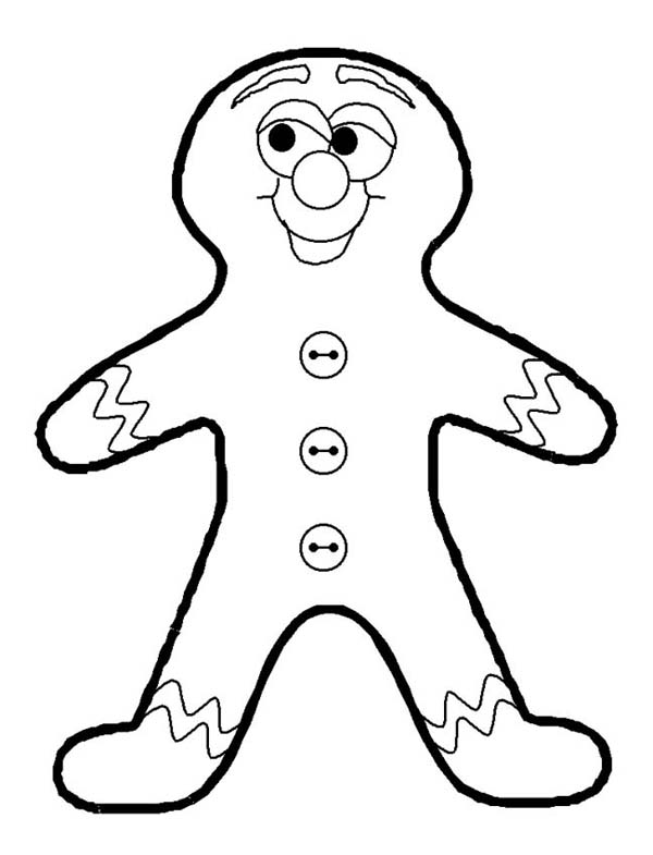Winter, : Gingerbread Man as Favorite Winter Season Cookies Coloring Page