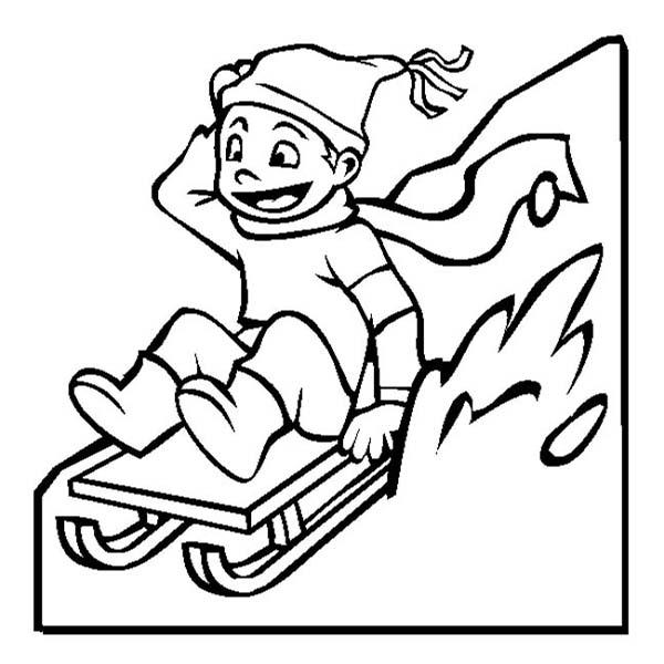 Winter, : Happy Kid Slidding on Winter Season Sled Coloring Page