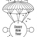 New Year, Happy New Year Message On Flying Board For 2015 New Year Coloring Page: Happy New Year Message on Flying Board for 2015 New Year Coloring Page