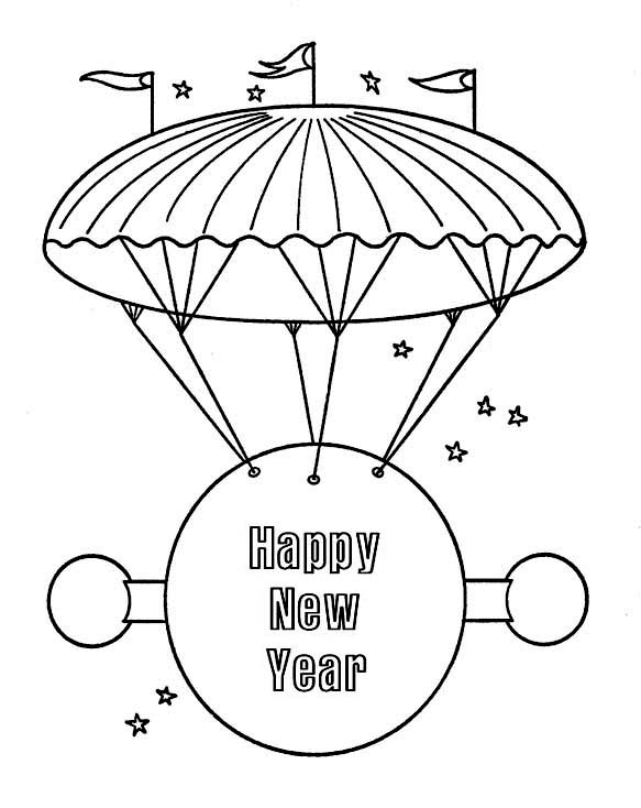 New Year, : Happy New Year Message on Flying Board for 2015 New Year Coloring Page