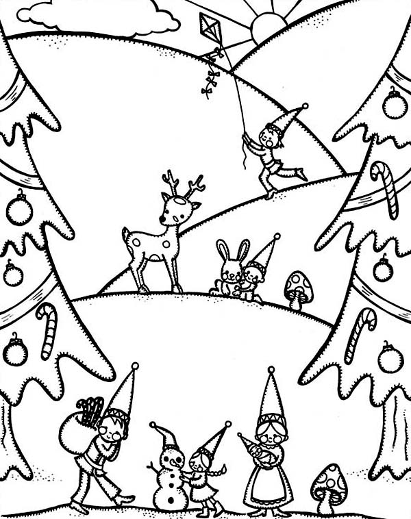 Winter, : Happy Winter Season and Christmas Event Coloring Page