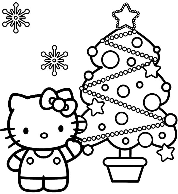 Christmas Trees, : Hello Kitty Show Us Her Beautiful Christmas Trees Coloring Pages