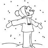 Winter, Hilarious Kid Tasting Snow On Winter Season Coloring Page: Hilarious Kid Tasting Snow on Winter Season Coloring Page
