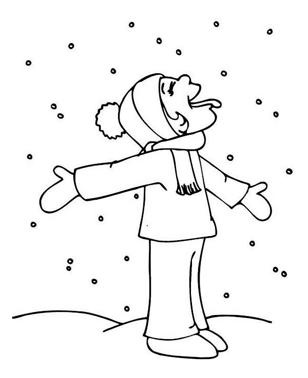 Winter, : Hilarious Kid Tasting Snow on Winter Season Coloring Page
