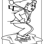 Winter, Ice Skating On Frozen Lake Coloring Page: Ice Skating on Frozen Lake Coloring Page