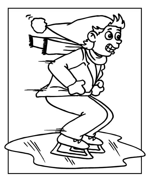 Winter, : Ice Skating on Frozen Lake Coloring Page