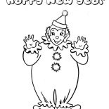 New Year, Joyful And Happy New Years Says The Clown On 2015 New Year Coloring Page: Joyful and Happy New Years Says the Clown on 2015 New Year Coloring Page