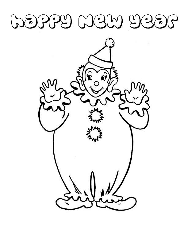 New Year, : Joyful and Happy New Years Says the Clown on 2015 New Year Coloring Page