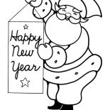 New Year, Joyful And Happy Santa Greetings On 2015 New Year Coloring Page: Joyful and Happy Santa Greetings on 2015 New Year Coloring Page