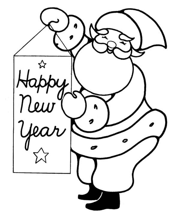 New Year, : Joyful and Happy Santa Greetings on 2015 New Year Coloring Page