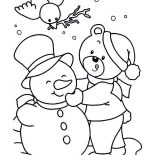Winter, Lovely Young Little Bear Making Mr Snowman On Winter Season Coloring Page: Lovely Young Little Bear Making Mr Snowman on Winter Season Coloring Page