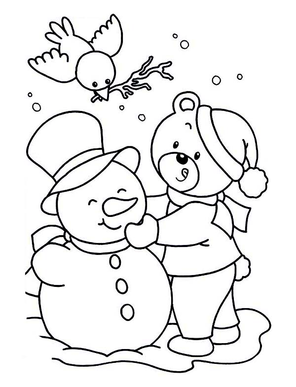 Winter, : Lovely Young Little Bear Making Mr Snowman on Winter Season Coloring Page